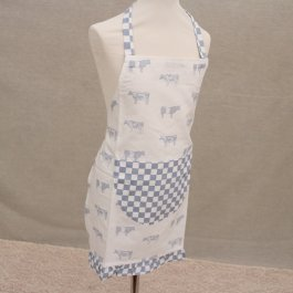 Childrens Apron Cow, Blue 48 x 56 cm