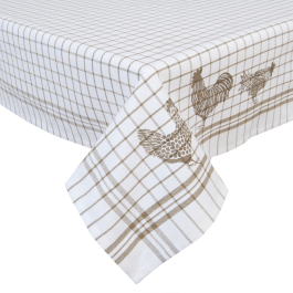 Tablecloth Rooster, beige/vit 100 x 100 cm