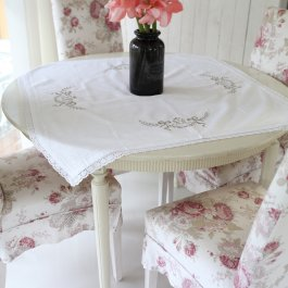 Tablecloth Monogram, 90 x 90 cm white/beige