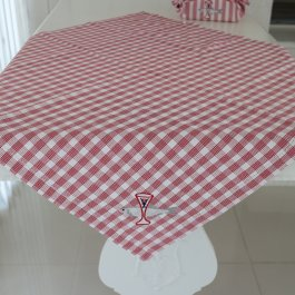 Tablecloth Bistro sill & snaps, red 90 x 90 cm