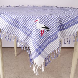 Tablecloth Stork with fringe, 90 x 90 cm
