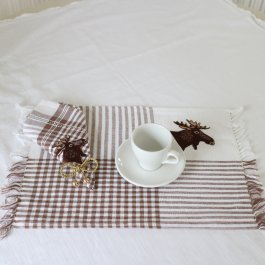 Placemat Elk brown/white, 33 x 45 cm