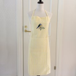 Apron checkered yellew Blue Tit , 65 x 90 cm