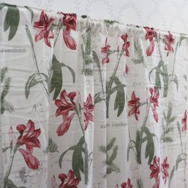 Curtain Beatrice, White/red 140 x 245 cm