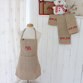 Childrens Apron God Jul beige, 45 x 55