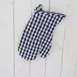 Oven Glove blue checkered  18 x 30 cm