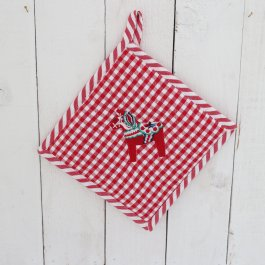 Pot Holder Dalahorse, rutig red 20 x 20 cm
