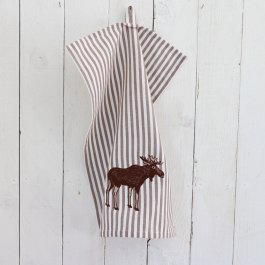 Kitchen towel Elk, white/brown 30 x 45 cm