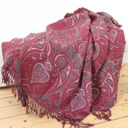 Throw Paisley, red/grey 120 x 150 cm