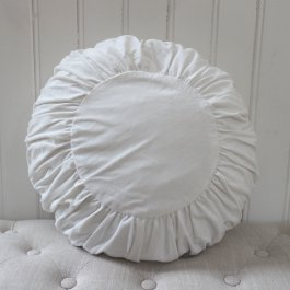 Pillowcase Velvet, round  offwhite
