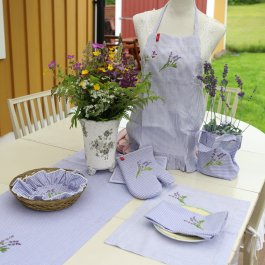 Childrens Apron Lavender, checkered with flounce, 45 x 55 cm