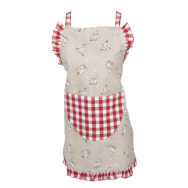 Childrens Apron Farmstyle, red 48 x 55 cm