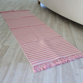 Rib carpet pink/white, 50 x 150 cm