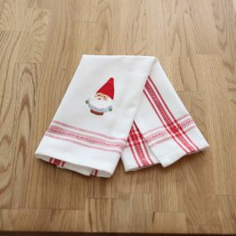 Guest Towel Dobby Nisse, white/red 30 x 45 cm