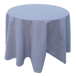 Tablecloth Anette, BLue checkered round 170 cm