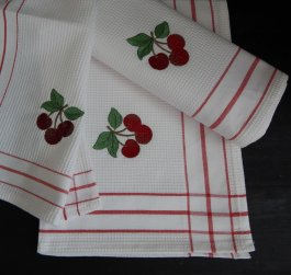 Kitchen towel Cherry, 30 x 45 cm waffled