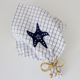 Napkin Starfish, white/blue, 40 x 40 cm
