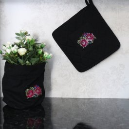 Pot Holder Shabby Rose Black, 23 x 23 cm