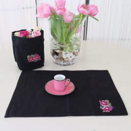 Placemat Shabby Rose Black, 35 x 48 cm