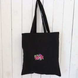 Bag Shabby Rose Black, 38 x 40 cm