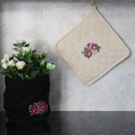 Pot Holder Shabby Rose Offwhite, 23 x 23 cm