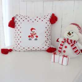 Pillowcase Snowman tassels, 40 x 40 cm