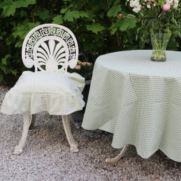 Tablecloth Anette, lightgreen checkered round 170 cm