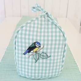 Tea Cozy checkered green, Blue Tit