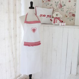 Apron white with red heart, 70 x 90 cm