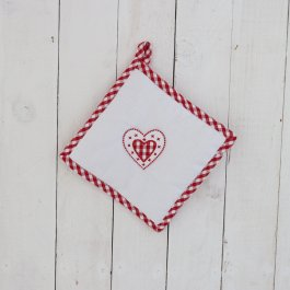Pot Holder Hjärta white/red, 22 x 22 cm