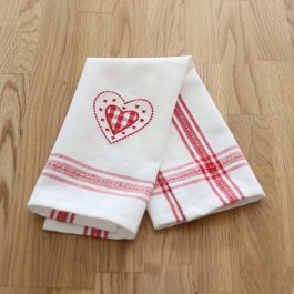 Guest Towel Hjärta white/red, dobby 30 x 45 cm