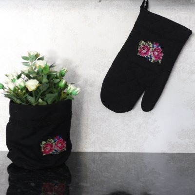 Oven Glove Shabby Rose Black, 17 x 30 cm